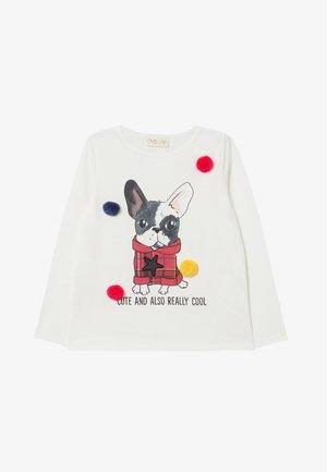 WITH POMPOMS AND PRINT - Camiseta de manga larga - white