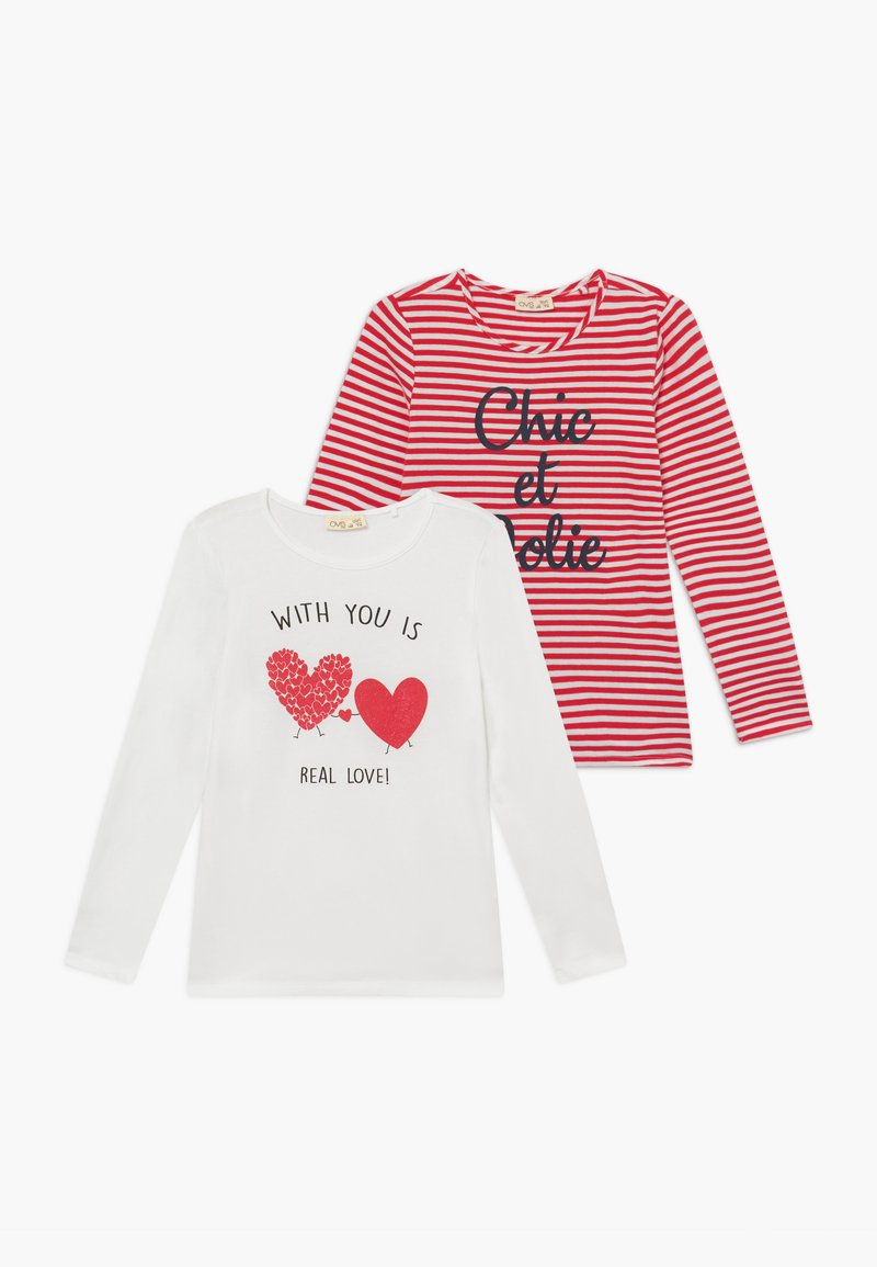 OVS - 2 PACK - Long sleeved top - snow white/lollipop