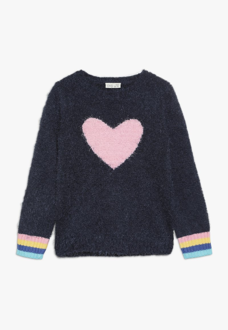 OVS - ROUND SWEATER INTARSIA - Jumper - blue wing teal