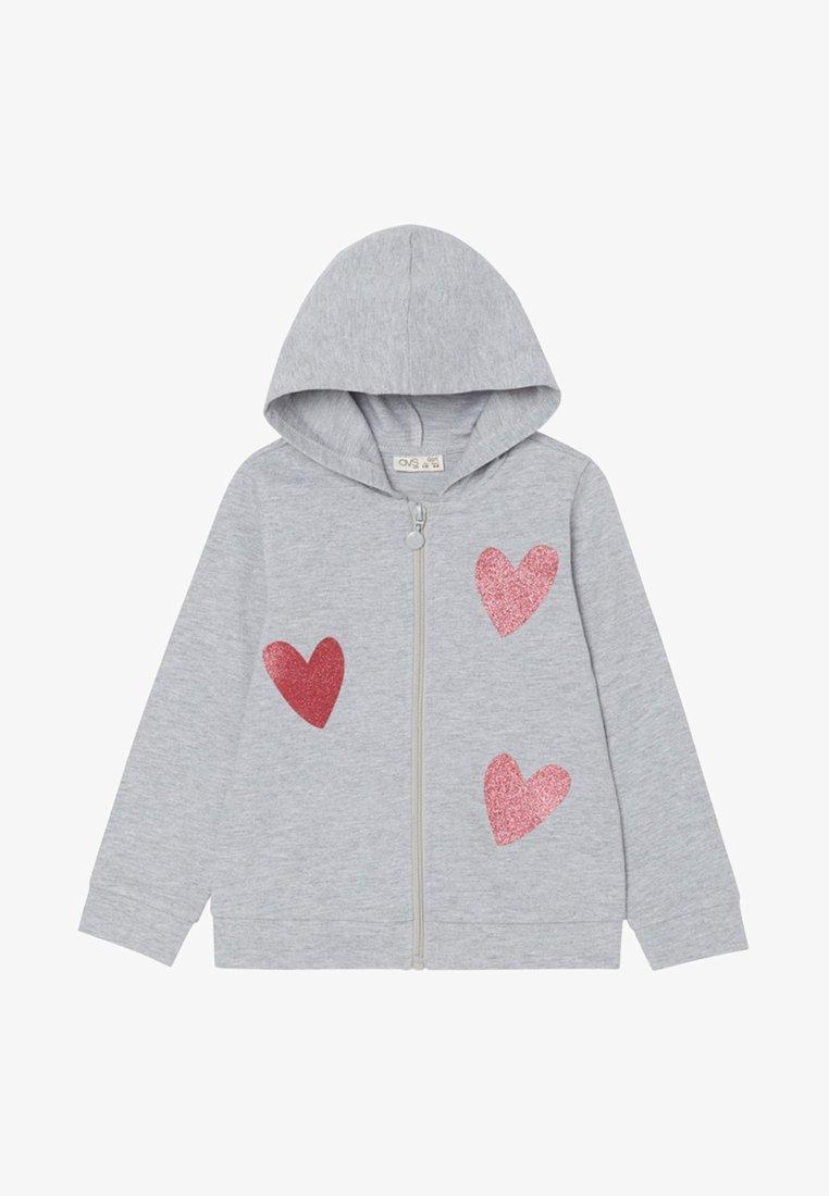 OVS - Zip-up hoodie - light grey marl