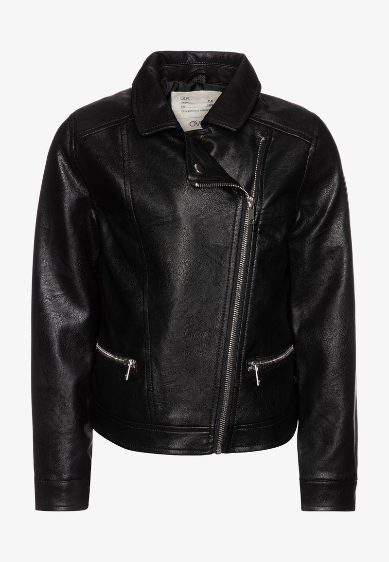 OVS - BIKER - Faux leather jacket - raven