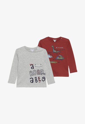 BABY PRINT 2 PACK - T-shirt à manches longues - barn red/grey melange
