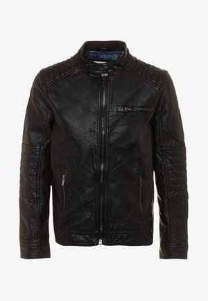 BIKER JACKET - Faux leather jacket - jet black