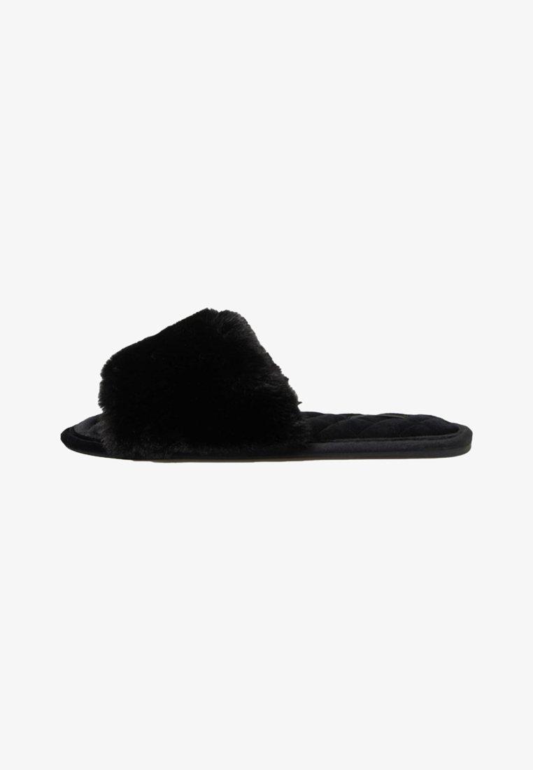 OYSHO - MIT KUNSTFELLRIEMEN - Slippers - black