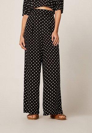 MIT MITTELGROSSEN PUNKTEN - Spodnie materiałowe - black