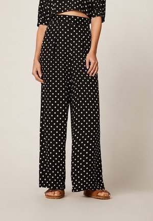 MIT MITTELGROSSEN PUNKTEN - Pantalon classique - black