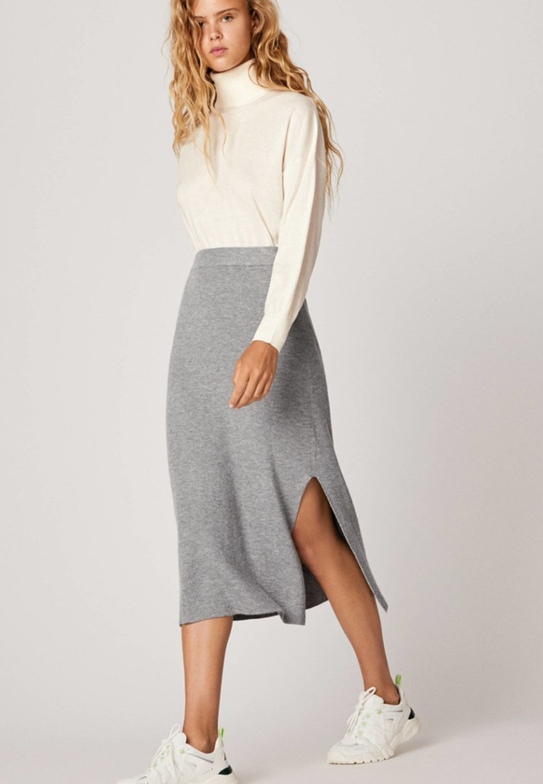 OYSHO - A-line skirt - grey
