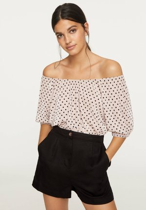 PLEATED POLKA DOT SHORT TOP - Pusero - beige