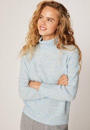 MIT FANGMUSTER UND ROLLKRAGEN - Sweter - light blue