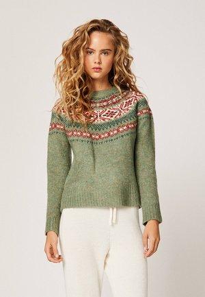 MIT JACQUARD-DETAIL  - Sweter - green