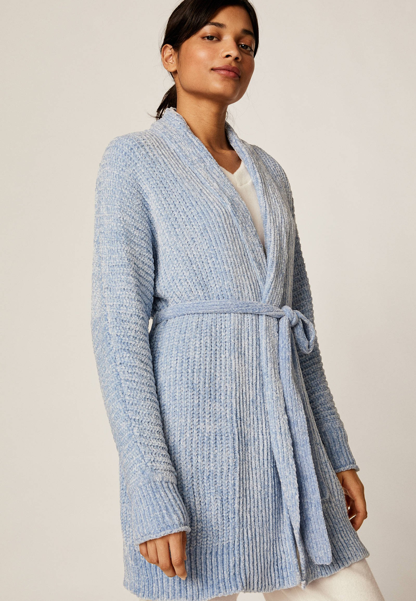 OYSHO CHENILLE  - Kardigan - light blue