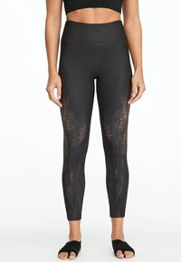 OYSHO_SPORT - MIT ALLIGATOR-PRINT  - Leggings - black - 0