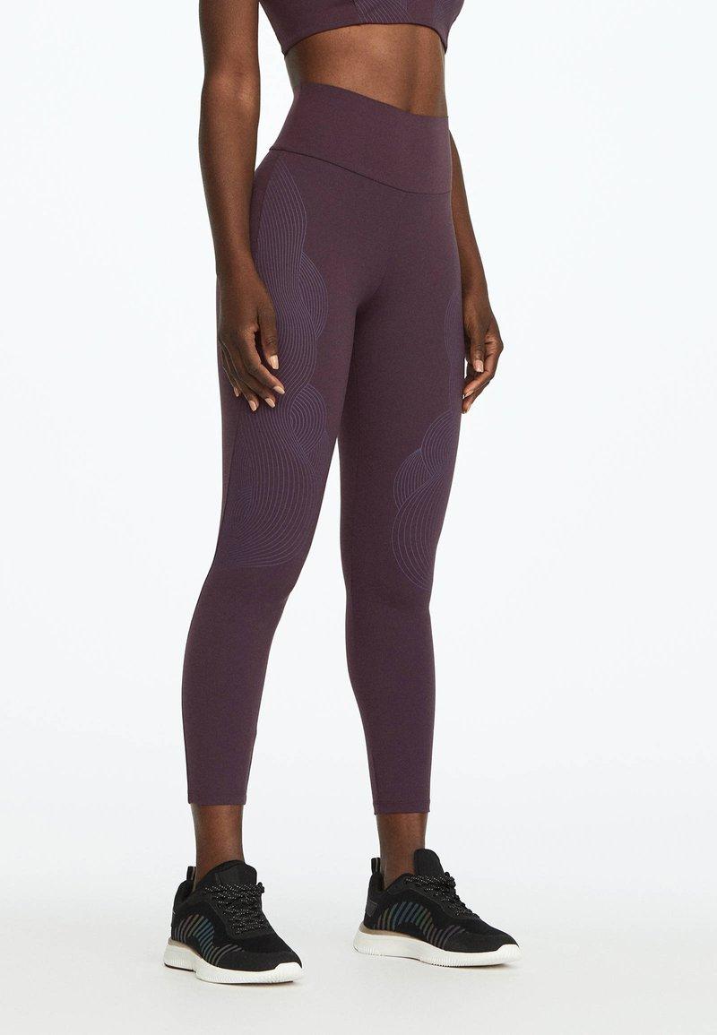 OYSHO_SPORT - Tights - dark purple