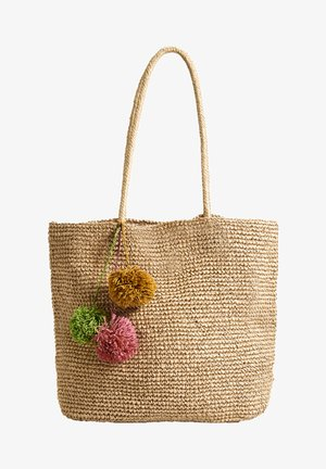 SHOPPER MIT POMPONS 14221580 - Torba na zakupy - brown