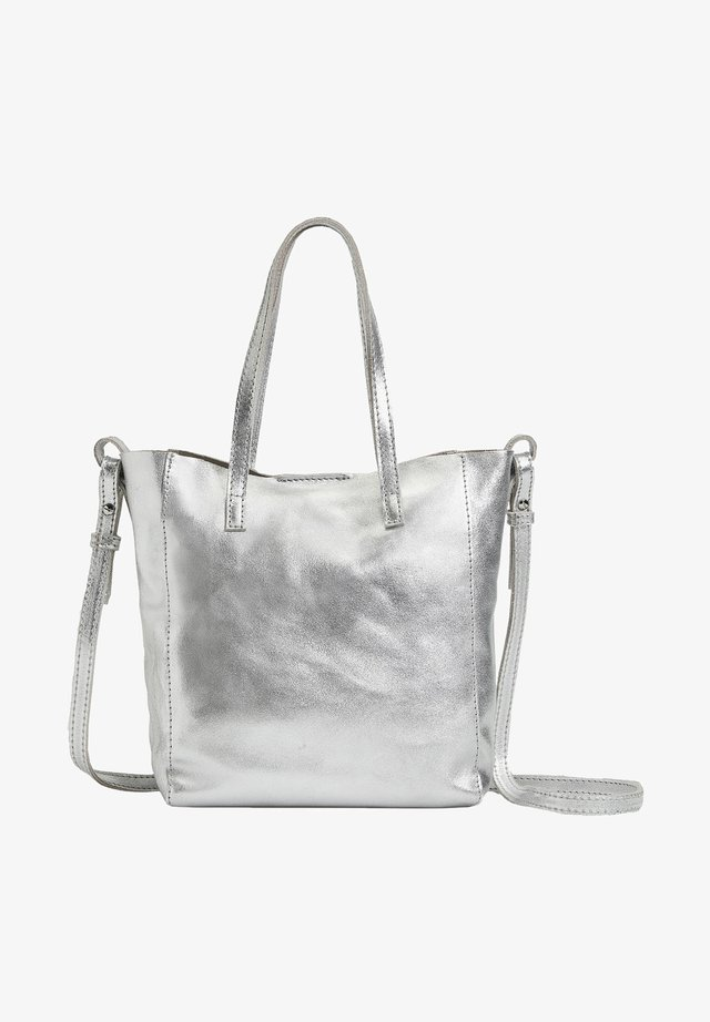 METALLIC LEATHER MINI SHOPPER - Sac à main - silver