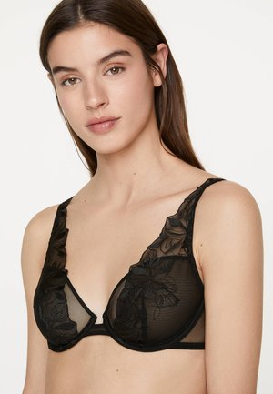 MIT BLUMENSTICKEREI  - Underwired bra - black