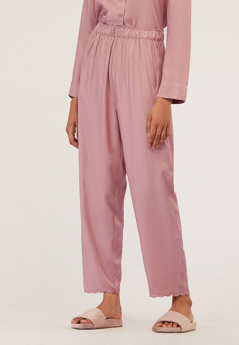 OYSHO - MIT MUSCHELSAUM - Pyjama bottoms - mauve