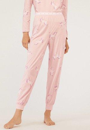 MIT ELASTISCHEM BUND UND EINHORNPRINT - Pantaloni del pigiama - rose