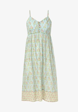 TURQUOISE INDIAN COTTON NIGHTDRESS - Denní šaty - turquoise