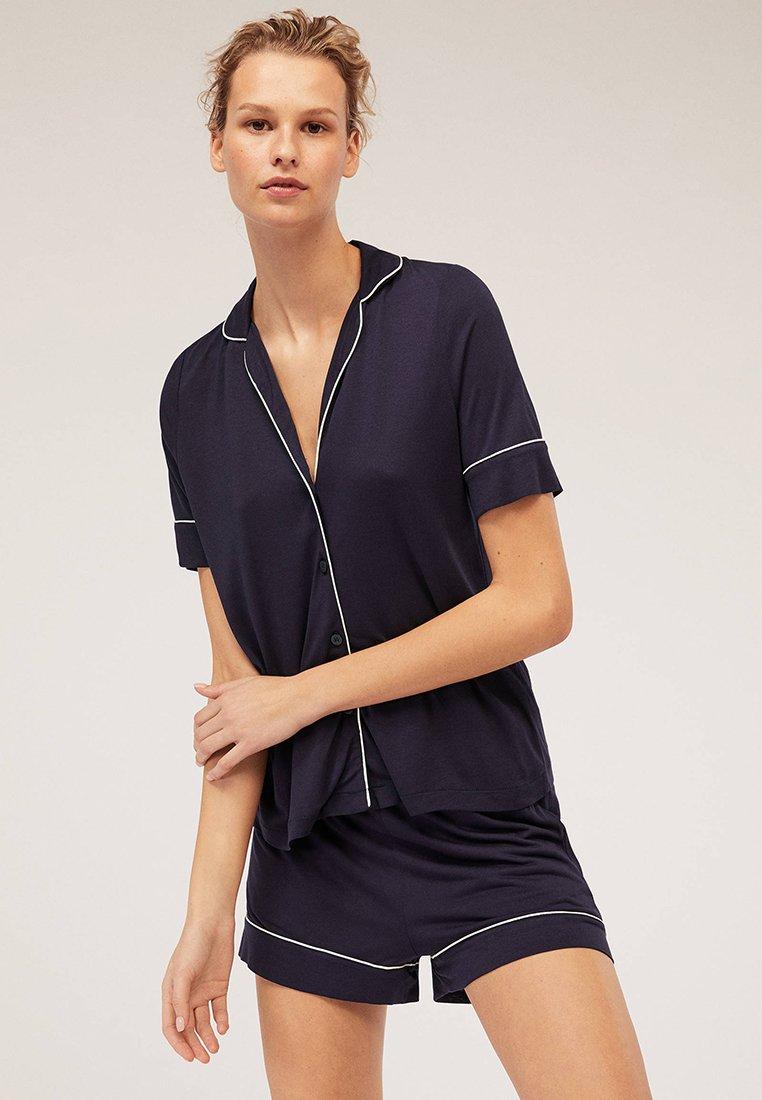 OYSHO - MIT PASPELIERUNG - Nachtwäsche Shirt - dark blue