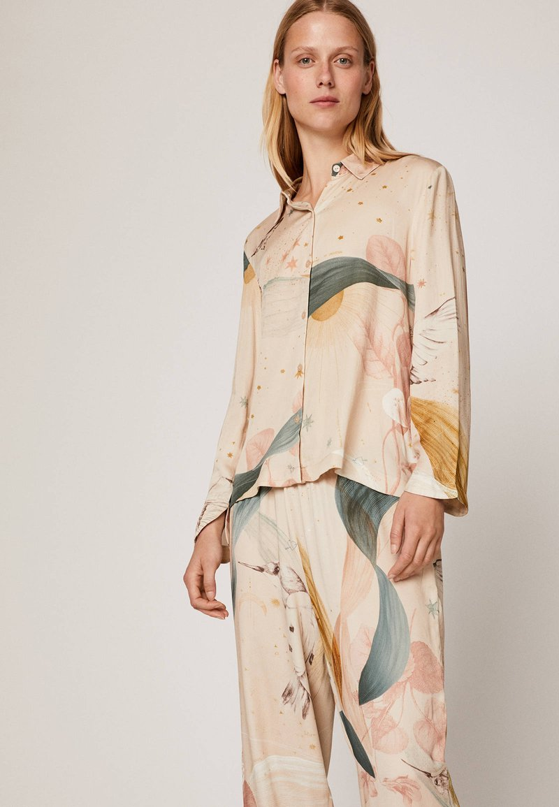 OYSHO - MIT KOLIBRIPRINT  - Maglia del pigiama - multi coloured