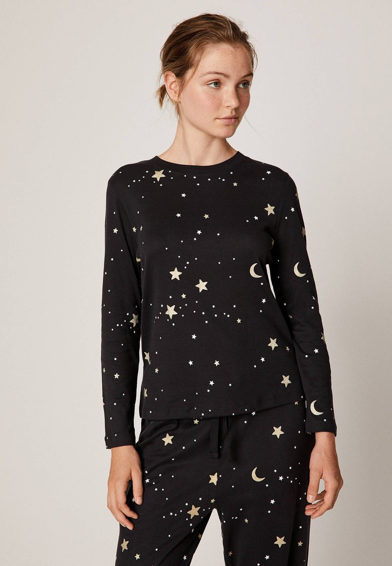 OYSHO - MIT MOND- UND STERNEPRINT - Pyjama top - black