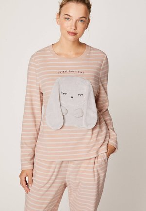 MIT ROSA STREIFEN UND KANINCHEN - Maglia del pigiama - rose