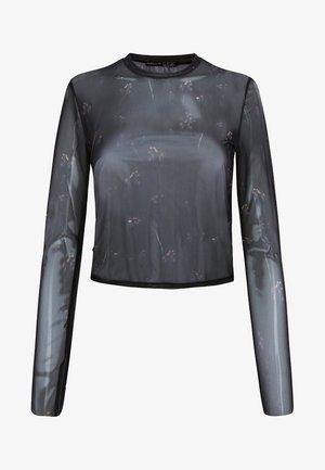 MIT BLUMEN - T-shirt à manches longues - black