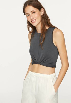 ÄRMELLOSES CROP-SHIRT MIT MODAL-ANTEIL UND KNOTENDETAIL 30626241 - Top - dark grey