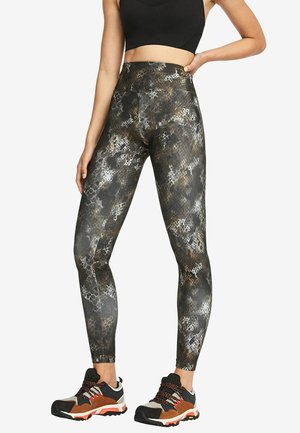 MIT SCHLANGENHAUTPRINT - Leggings - black