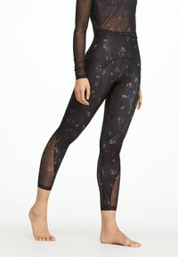 OYSHO_SPORT - MIT BLÜMCHENPRINT - Leggings - black - 0