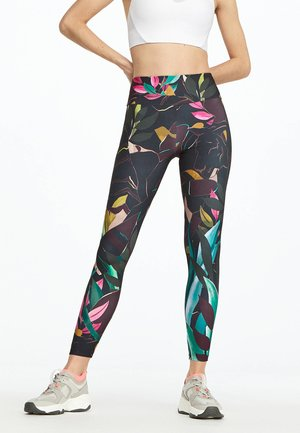 LEGGINGS MIT TROPICAL-PRINT 31222247 - Leggings - black