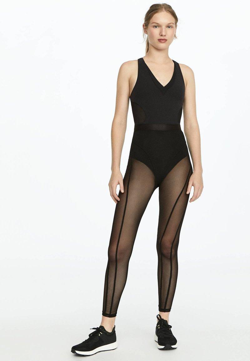 OYSHO_SPORT - LEGGINGS AUS TÜLL 31217251 - Legging - black