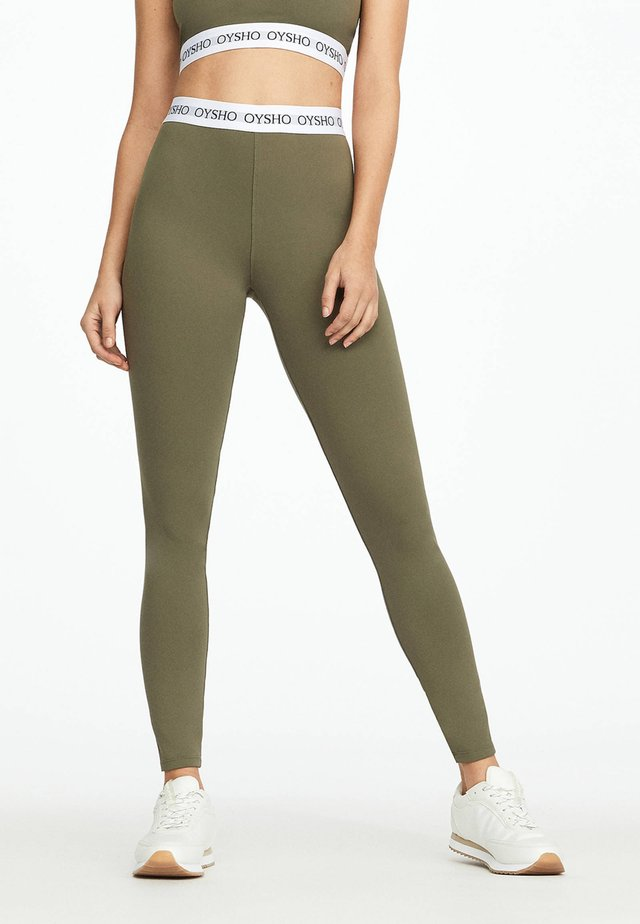 BASIC LOGO STRETCH WAISTBAND LEGGINGS - Punčochy - khaki