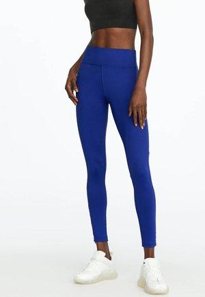 MIT REISSVERSCHLUSS - Leggings - blue