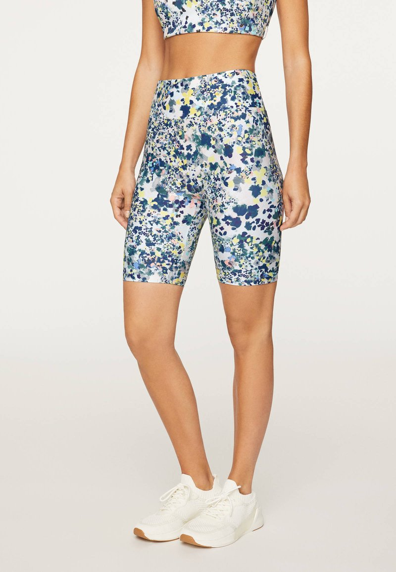 OYSHO_SPORT - FLORAL PRINT  - Tights - blue