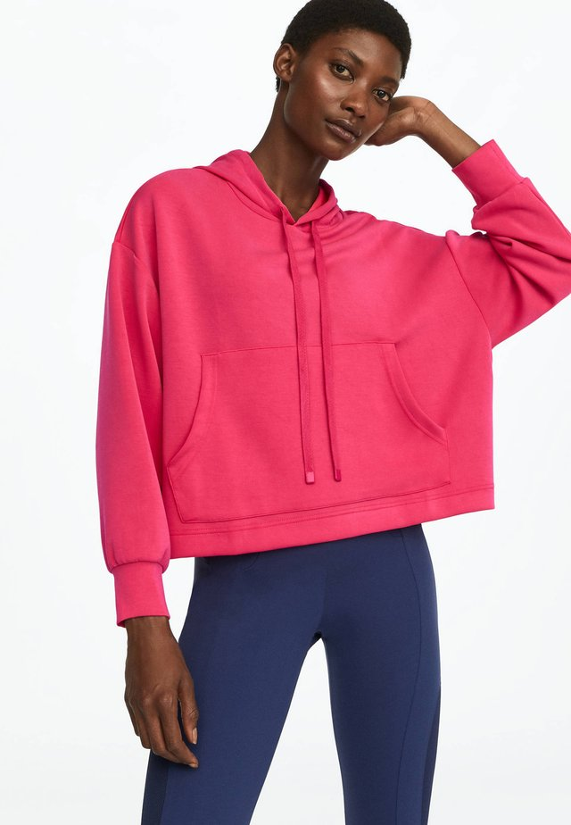 Mikina skapucí - neon pink