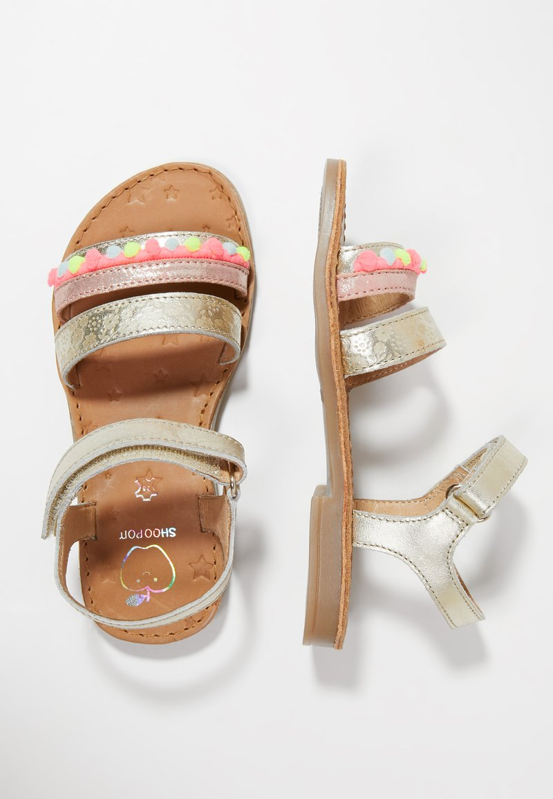 Shoo Pom - HAPPY POMPON - Sandals - platine/fluo rose