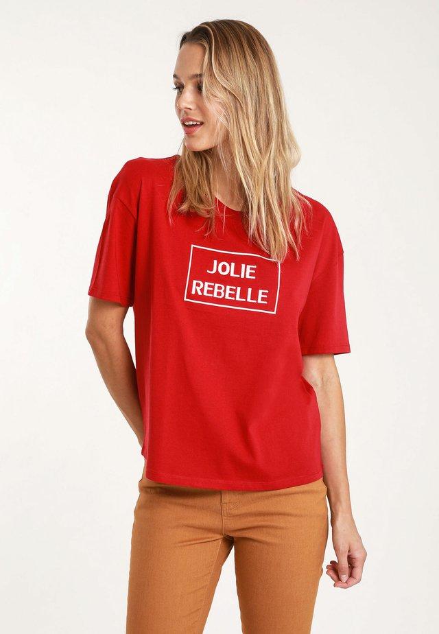 MIT SCHRIFTZUG - T-shirt print - red
