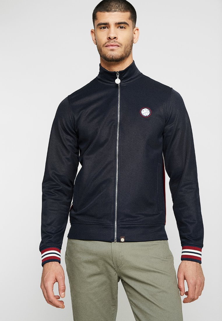 Pretty Green - RIB SIDE STRIPE TRACK TOP - Træningsjakker - dark navy