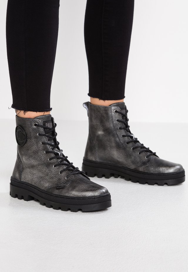 Lace-up ankle boots - black/silver