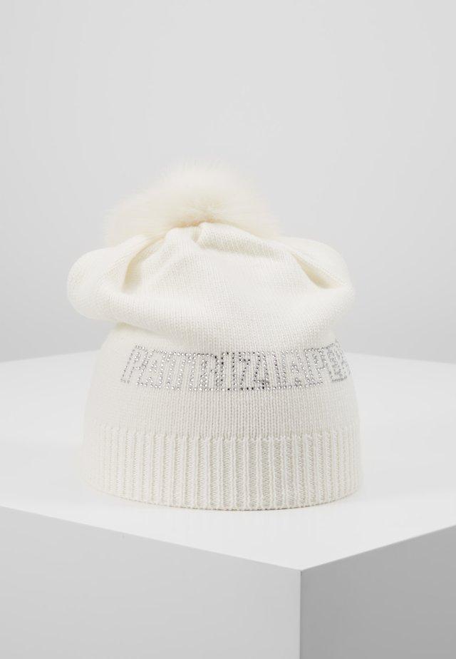CUFFIA CON POM POM - Pipo - bianco lana panna