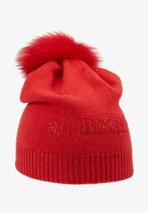 CUFFIA CON POM POM - Mütze - rosso