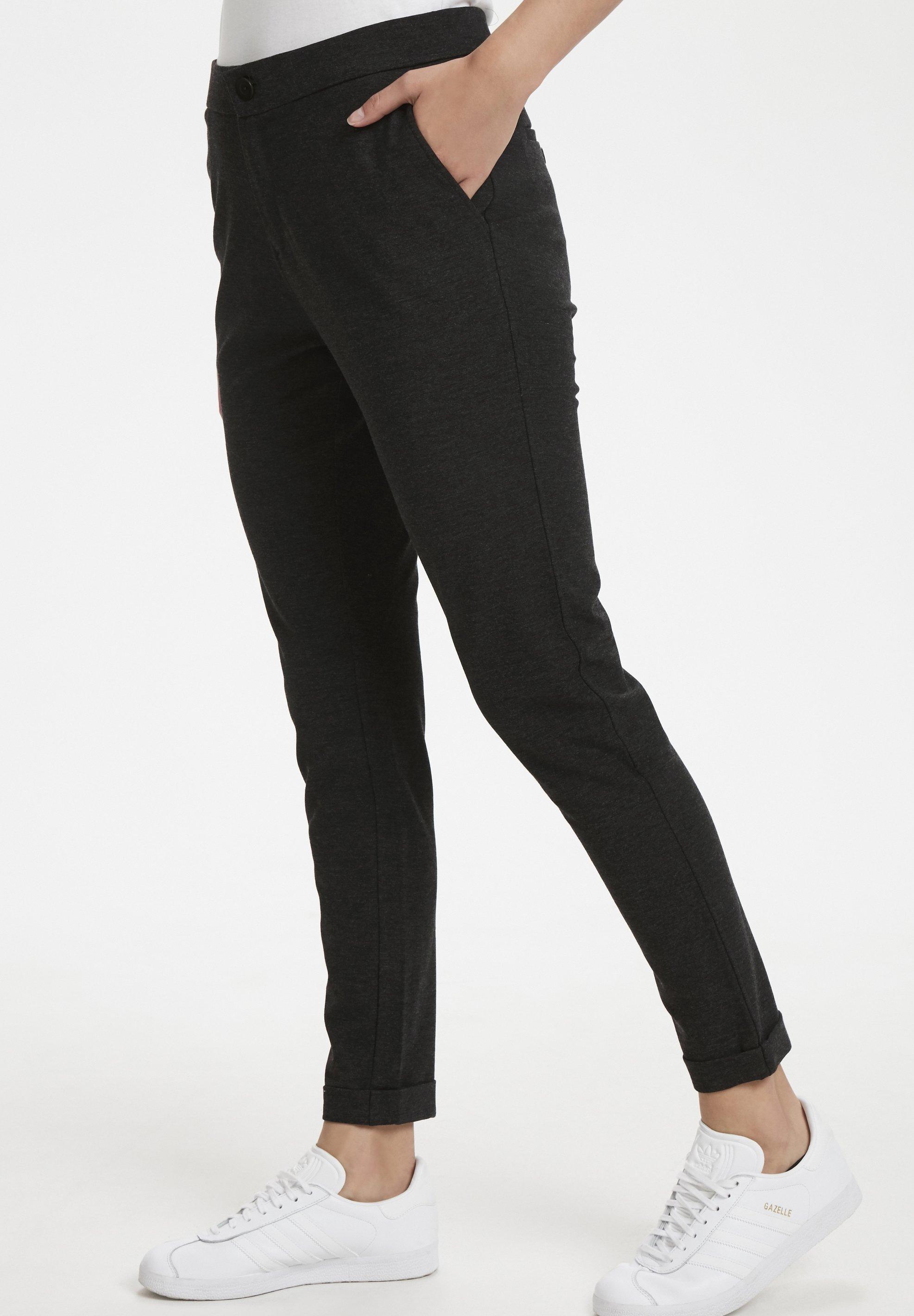 Part Two MIGHTY - Spodnie materiałowe - dark grey melange