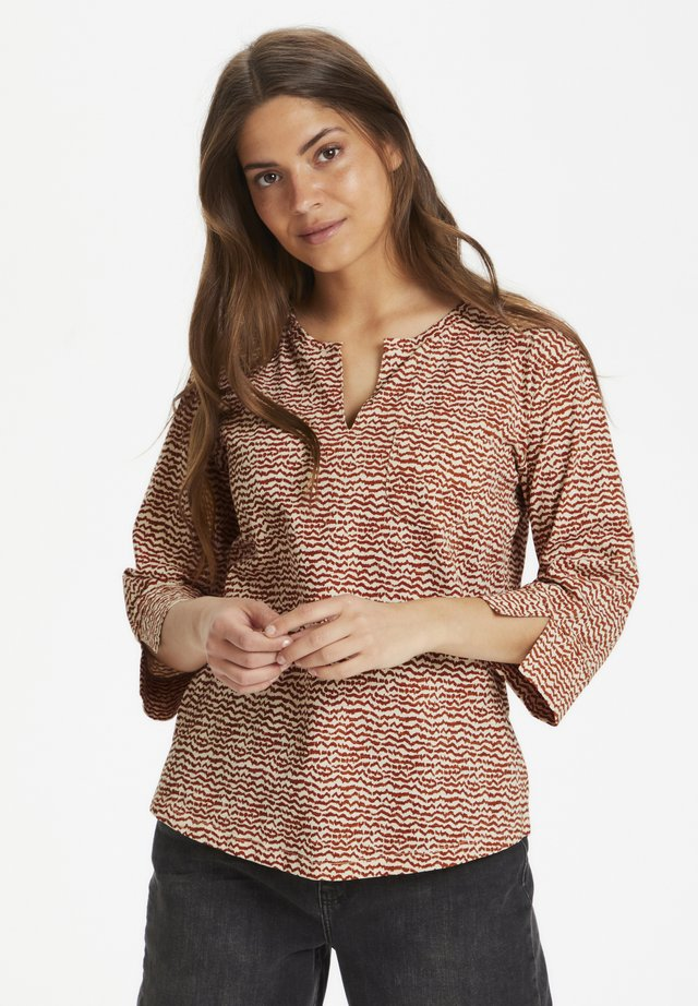 KESSIE TS - Long sleeved top - mini ikat print, autumnal