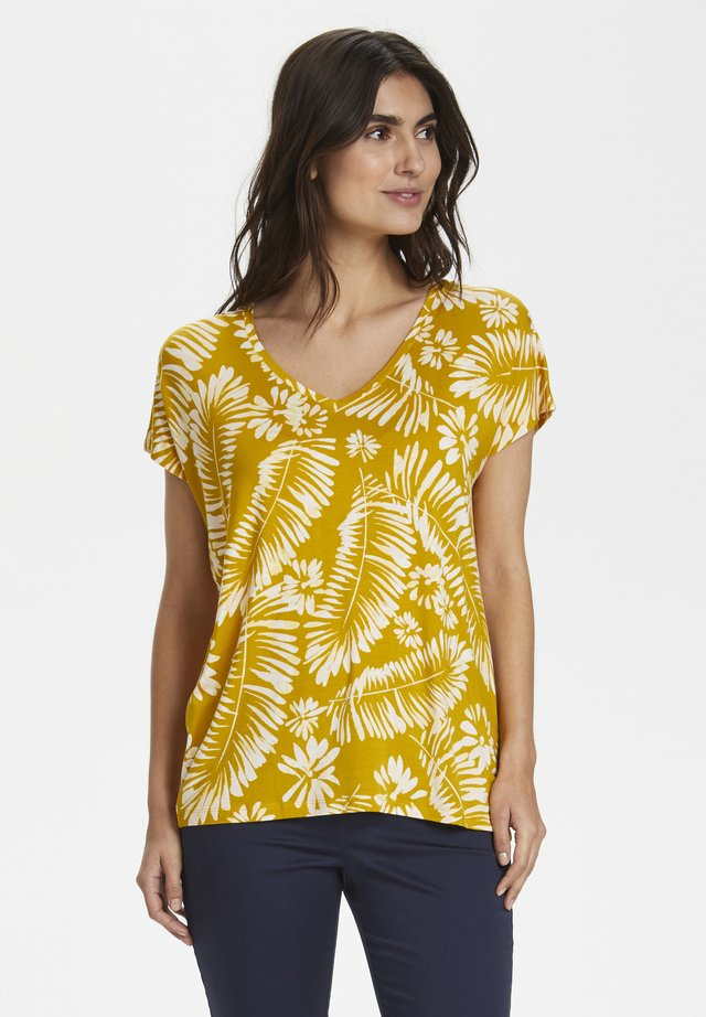 Print T-shirt - palm/golden spice