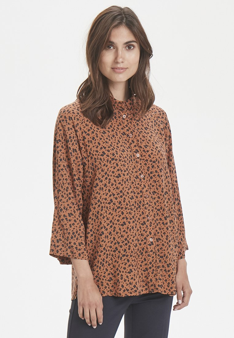 Part Two - Button-down blouse - brown