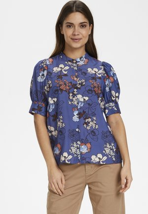 DONAPW - Button-down blouse - flora print, marlin blue