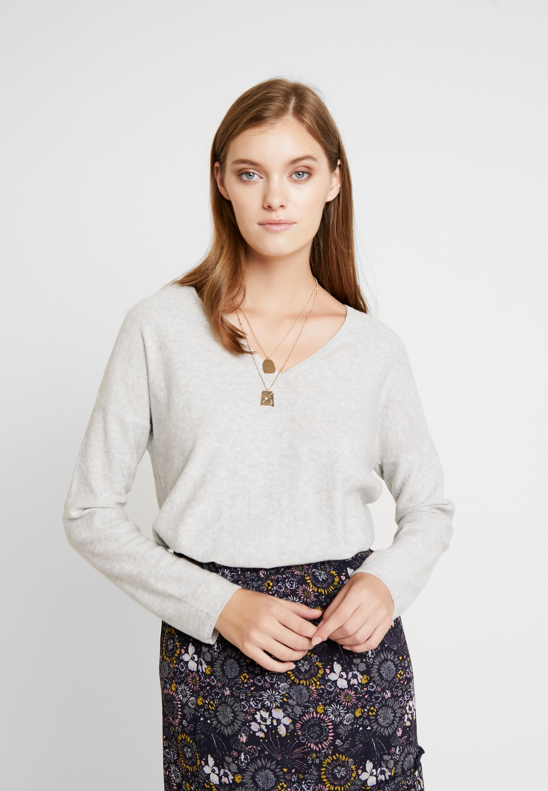 Grey Melange Iliviasa Two Light Part V neckPullover CoxeWrBd