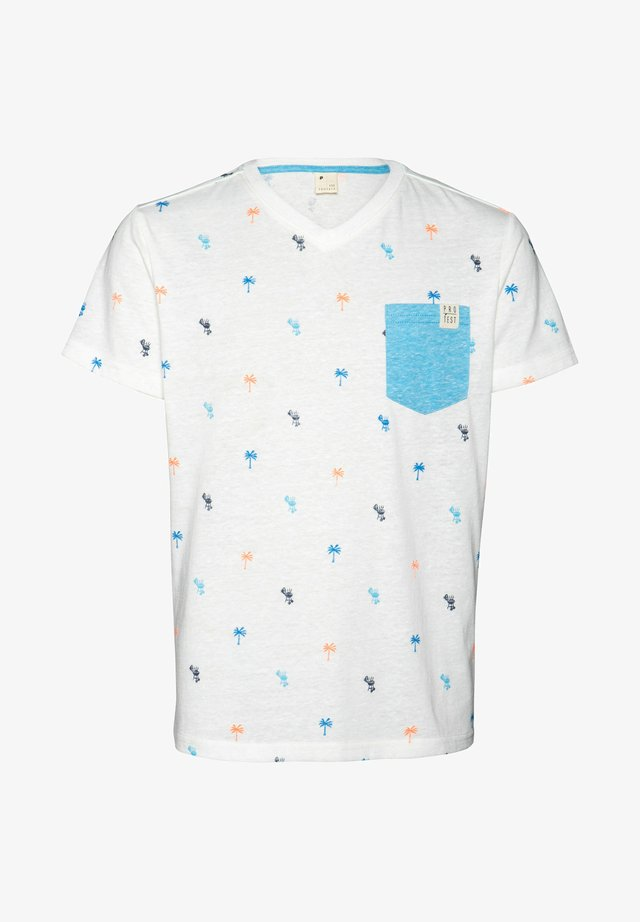 VALOR JR - Print T-shirt - off-white/neon pink/blue